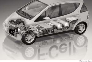 Mercedes Fuel-cell car cutaway